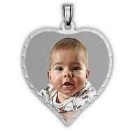 Medium Heart Photo Pendant/Charm with Diamond Cut Edge