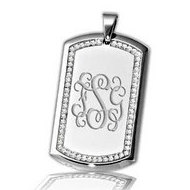 Stainless Steel Dog Tag Pendant w  Cubic Zirconia Border