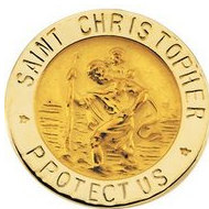 14K YELLOW GOLD ST  CHRISTOPHER LAPEL PIN