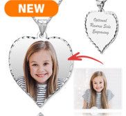 Heart Diamond Cut Edge Picture Pendant