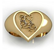 Mother with Son and Two Daughters Heart Shaped  Mother s Ring