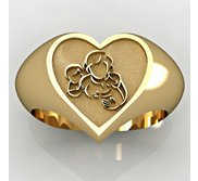 Mother with Son and Daughter Heart Shaped  Mother s Ring