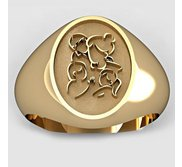 Mother with Son and Two Daughters Oval Shaped  Mother s Ring