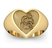 Mother with Two Daughters Heart Shaped  Mother s Ring