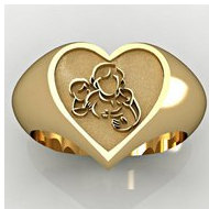 "Mother with Son and Daughter Heart Shaped ""Mother's Ring"""