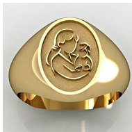 "Mother and Son Oval Shaped ""Mother's Ring"""