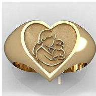"Mother and Son Heart Shaped ""Mother's Ring"""