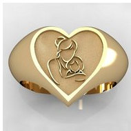 Mother and Daughter Heart Shaped  Mother s Ring