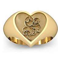 Mother with Two Sons Heart Shaped  Mother s Ring