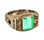 Men s Rounded Square Emerald with Year Class Ring