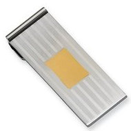 Stainless Steel Engravable Money Clip W/ Gold Plating