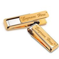 "18K Yellow Gold Plated Engravable ""New Yorker"" M-Clip"