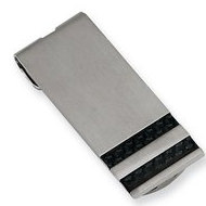 Stainless Steel Engravable Money Clip W/ Carbon Fiber