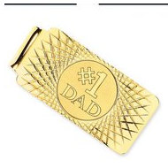 "14k Yellow Gold ""#1 Dad"" Money Clip"