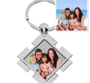 Stainless Steel Engravable Square Photo Laser Keychain