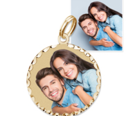 Petite Round with Diamond Cut Edge Photo Charm For Bracelet
