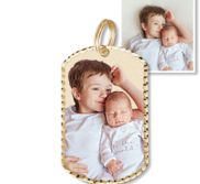 Petite Dog Tag Photo Charm for Bracelet