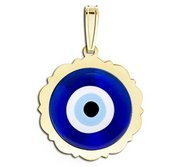 Evil Eye Color Scalloped Round Pendant