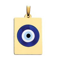 Rectangle Evil Eye Engraved Pendant