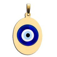 Evil Eye Engraved Oval Color Pendant