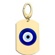 Evil Eye Engraved Dog Tag Charm