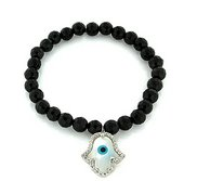 Stretchable Sterling Silver Black Beaded Evil Eye Bracelet