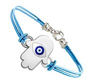 Sterling Silver Hamsa  Protector of Evil Eye  Color Rope Bracelet
