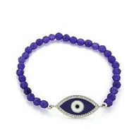 Stretchable Sterling Silver Beaded Evil Eye Bracelet