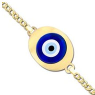 Evil Eye Engraved Oval Bracelet w  Curb Chain