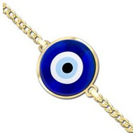 Evil Eye Color Round Bracelet w  Curb Chain