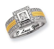 Sterling Silver   Vermeil Square Cubic Zirconia Promise Ring w  Halo