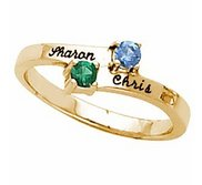 Solid Gold Birthstone Personalized Promise Ring