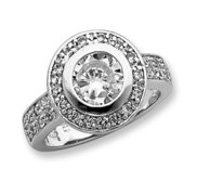 Sterling Silver Round Cubic Zirconia Promise Ring w  Halo