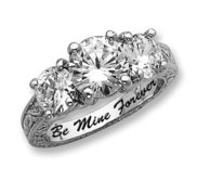 Sterling Silver Three Stone Round Cubic Zirconia Promise Ring