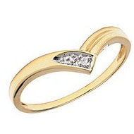 14K Gold Diamond V Shaped Promise Ring