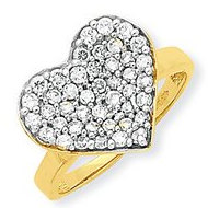 10k Yellow Gold   Rhodium Cubic Zirconia Heart Shape Promise Ring