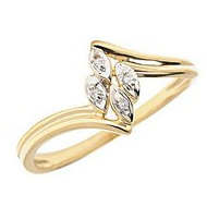 14K Gold Diamond Leaf Promise Ring