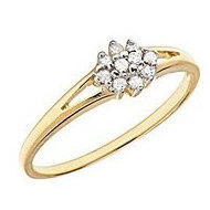 10K Gold Diamond Cluster Promise Ring