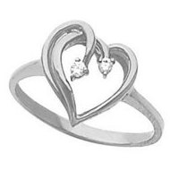 Sterling Silver Diamond Heart Shaped Promise Ring