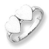 Sterling Silver Double Heart Engravable Ring