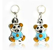 Sterling Silver Enamel   Teddy Bear   Dangle Post Earrings
