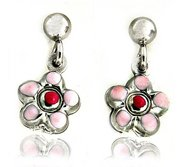 Sterling Silver Enamel   Flower   Dangle Post Earrings