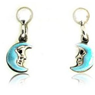 Sterling Silver Enamel   Blue Moon   Dangle Post Earrings