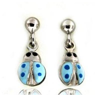 Sterling Silver Enamel   Blue Ladybug   Dangle Post Earrings