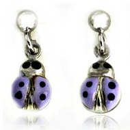 Sterling Silver Enamel   Purple Ladybug   Dangle Post Earrings