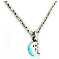 Sterling Silver  Enamel    Blue Moon   Necklace