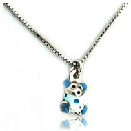Sterling Silver   Enamel Blue Teddy Bear   Necklace