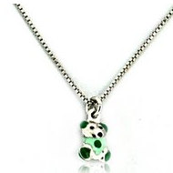 Sterling Silver   Green Enamel Teddy Bear   Necklace