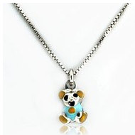 Sterling Silver Enamel   Teddy Bear   Necklace