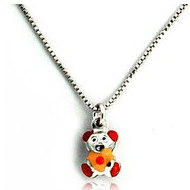 Sterling Silver   Orange Enamel Teddy Bear   Necklace